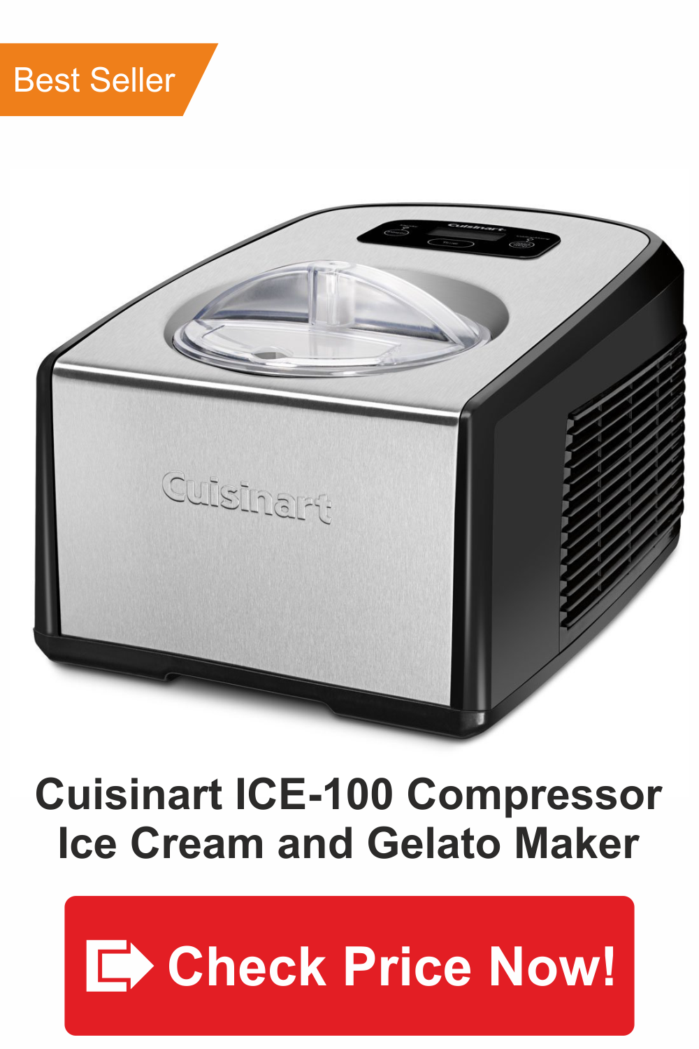 best gelato maker-Cuisinart ICE-100 Compressor Ice Cream and Gelato Maker