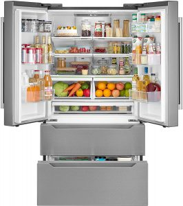 cosmo fridge with draw freezer and ice maker